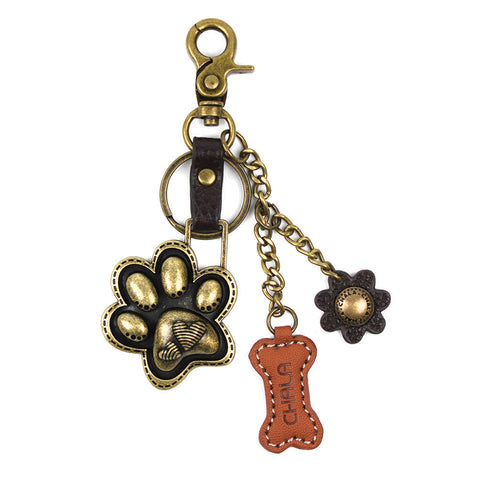 Chala Bronze Metal- Purse Charm, Key Fob, Keychain Decorative Accessory - M602 Paw