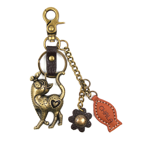 Chala Bronze Metal- Purse Charm, Key Fob, Keychain Decorative Accessory - M602 Slim Cat