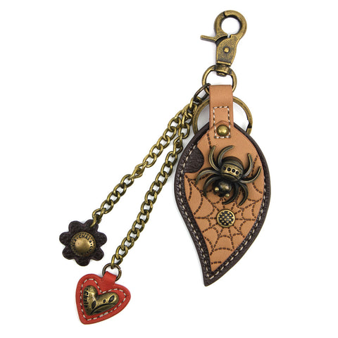 Chala Bronze Metal- Purse Charm, Key Fob, Keychain Decorative Accessory - M602 Spider