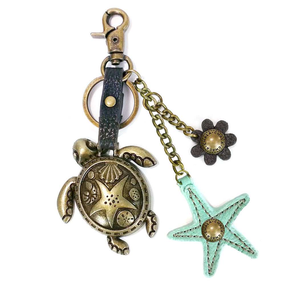 Chala Metal Turtle Purse Charm with Teal StarFish - Animal-Bags.com