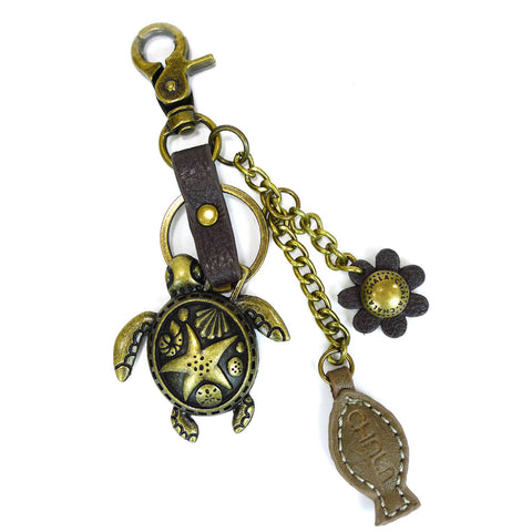 Chala Bronze Metal- Purse Charm, Key Fob, Keychain Decorative Accessory - M602 Turtle Fish