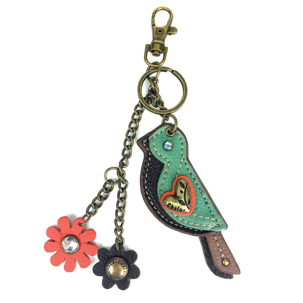 Chala Decorative Mini keychain, Purse Charm, Key fob - Green Bird