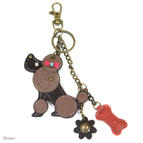 Chala Decorative Mini keychain, Purse Charm, Key fob - Brown Poodle