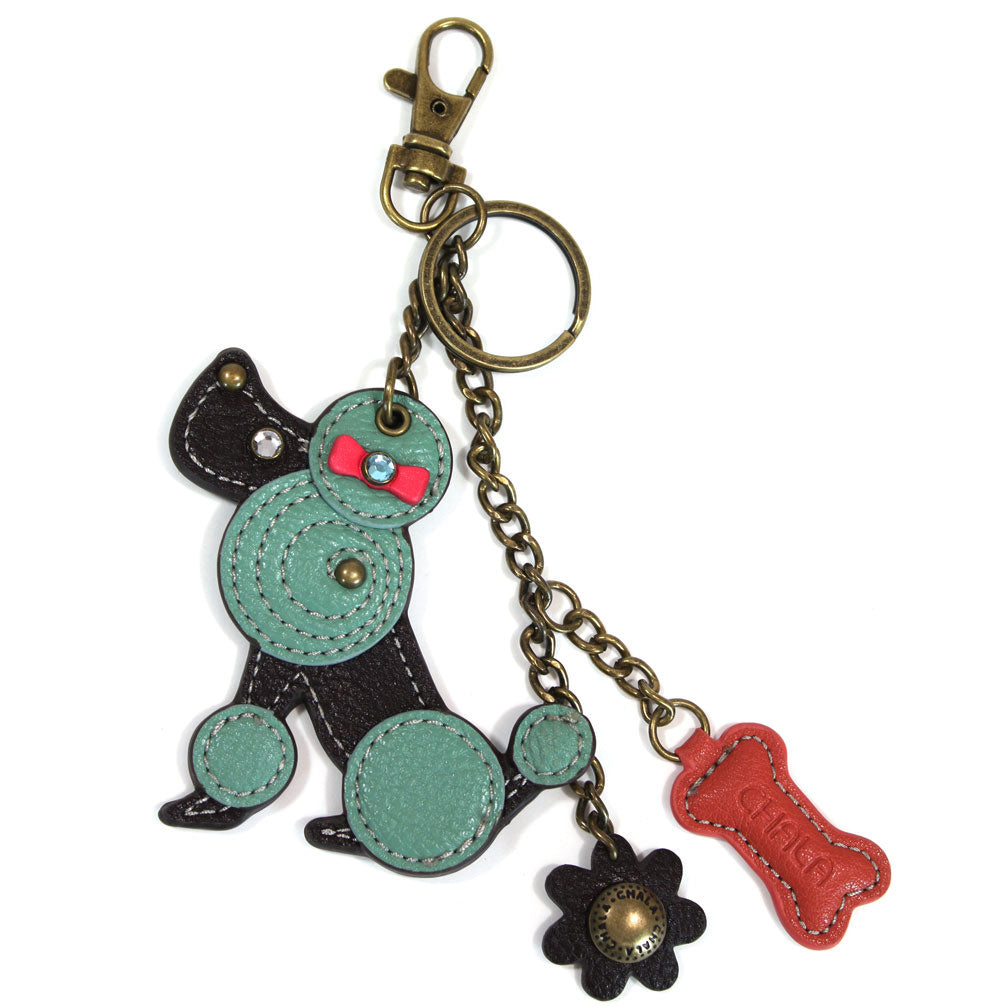 Chala Decorative Mini keychain, Purse Charm, Key fob - Teal Poodle