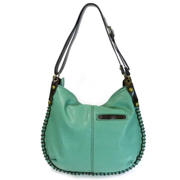 Chala Convertible Hobo Large Tote Bag Teal Pleather gift Green Boston Terrier Dog-Teal