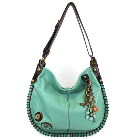 CHALA Crossbody Handbag, Hobo Style, Casual, Soft, Large Bag Shoulder or Crossbody - Teal (Metal Dragonfly)