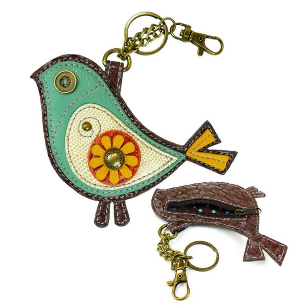 Chala Teal Green Bird Coin Purse/Key Fob