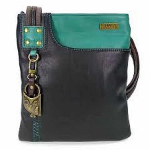 Chala Handbag Xbody Swing Bag, Crossbody Swing Bag, FAUX Leather, 2 Tone (Owl, Teal/Black)