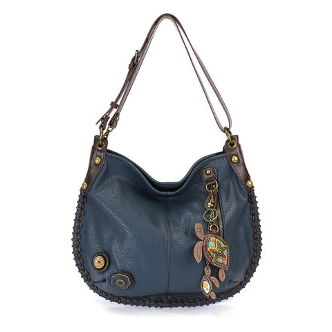 "Chala Charming Hobo Crossbody ""Sea Turtle"" - Navy"