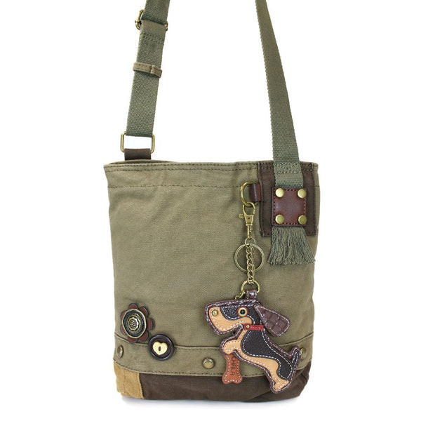 Chala Wiener Dog Patch Crossbody Bag, Olive