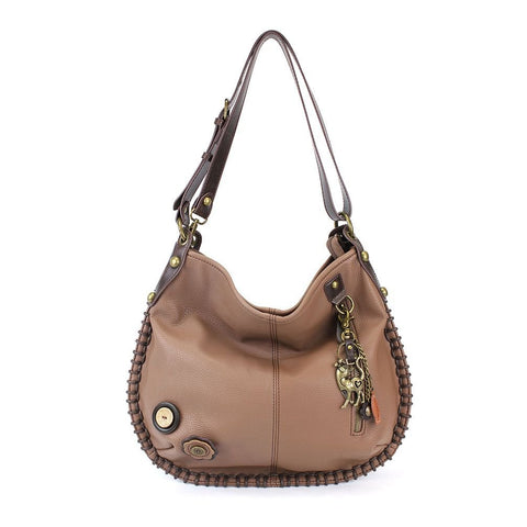 "Chala Charming Hobo Crossbody ""Metal Slim Cat"" - Brown"