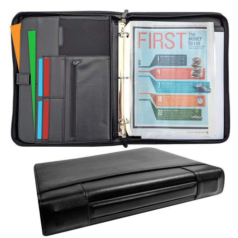 MSP Portfolio Binder with Retractable Handle, Binder Pockets, 3 Rings Binder Zippered Padfolio for Work and Interview- (048 Black)