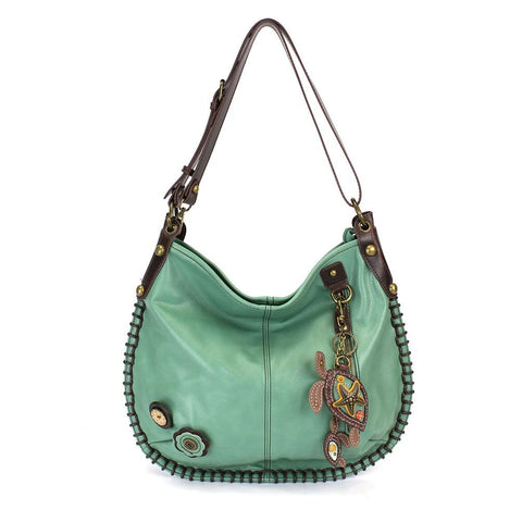 Chala Purse Handbag Hobo Cross Body Convertible Teal Sea Turtle Bag