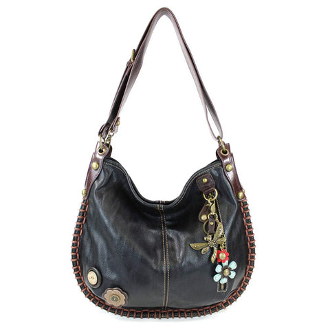 Chala Hobo Crossbody Large Tote Bag DRAGONFLY Vegan leather Convertible Black