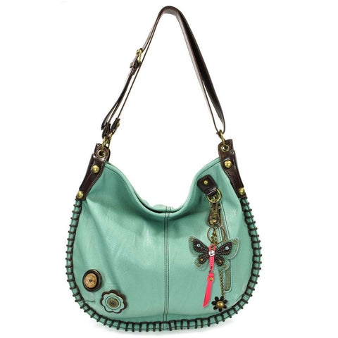 Chala Hobo Convertible Shoulder/Crossbody Large Tote Handbag with Teal Butterfly Charm