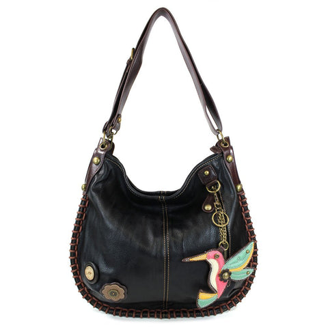 Chala CONVERTIBLE Hobo Large Tote Bag HUMMINGBIRD Vegan Leather BLACK
