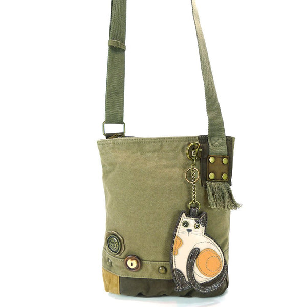 Chala Patchwork Crossbody Canvas Messenger Handbag - Olive (Cat)
