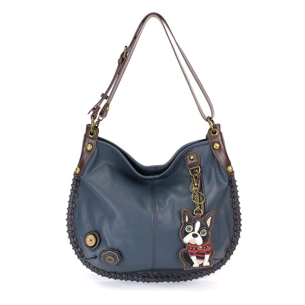Chala Hobo Crossbody Large Bag Pleather Convertible Boston Terrier Navy Blue