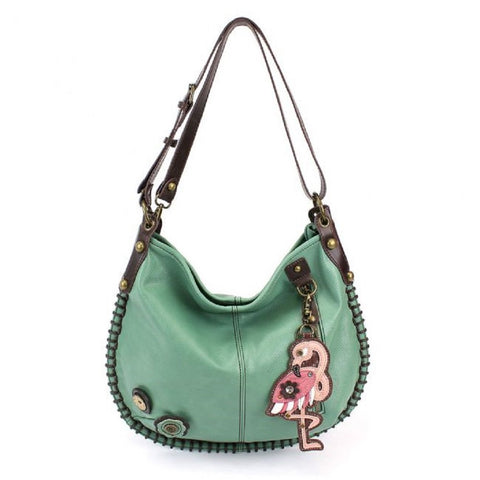 Chala CONVERTIBLE Hobo Large Tote Bag FLAMINGO Vegan Leather Teal Green