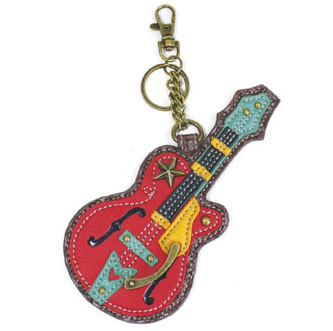 Chala Rock Star Guitar Key Chain Coin Purse Leather Bag Fob Charm