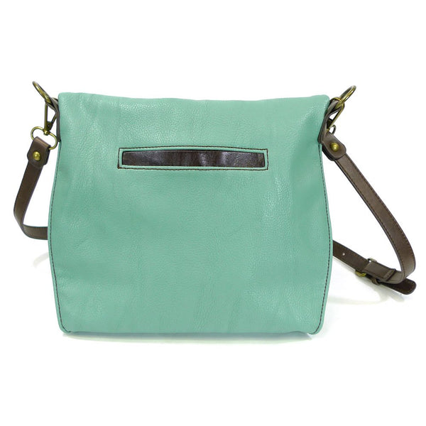 Chala Charming Crossbody Bag Pleather Metal SEA TURTLE Teal Green Convertible
