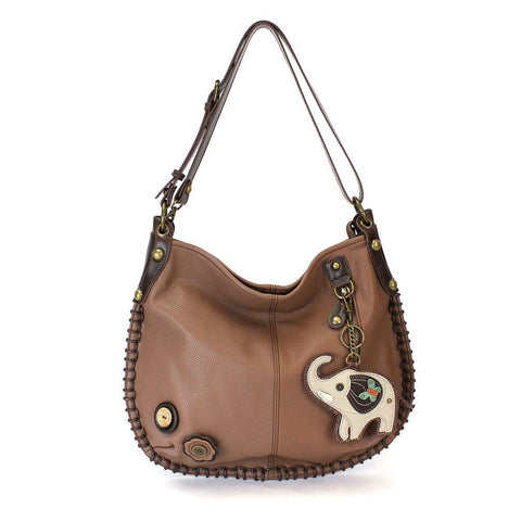 Hobo Crossbody Large Bag Elephant Pleather BROWN Convertible & Coin Purse