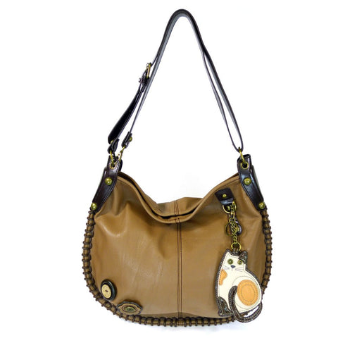Chala Handbag Charming Hobo Large Tote Bag LAZZY CAT Brown Vegan Leather Convertible Strap