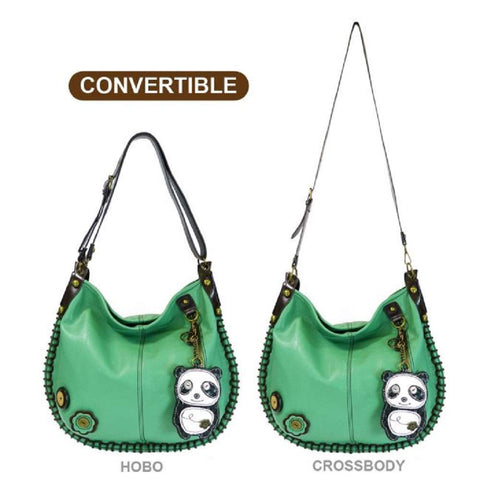 Chala CONVERTIBLE Hobo Large Tote Bag Teal Pleather gift Green Panda Bear