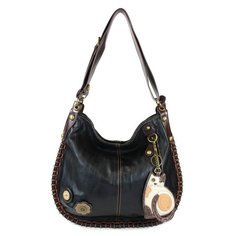 Chala Handbag Charming Hobo Large Tote Bag LAZZY CAT Black Vegan Leather Convertible