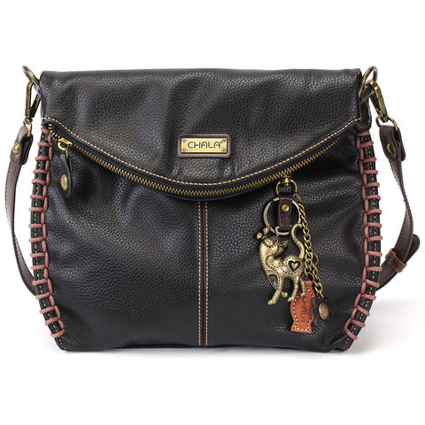 Chala Charming Crossbody Bag with Cat - Black