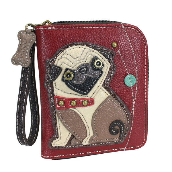Charming Poodle Deluxe Zip around Wallet in Mauve Stripe Pattern (Pug)