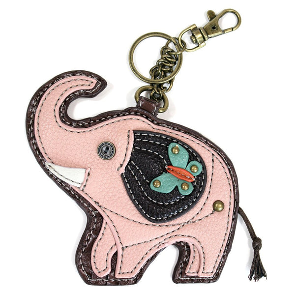 Chala Coin Purse / Detachable Key-chain - Pink Elephant in faux leather-