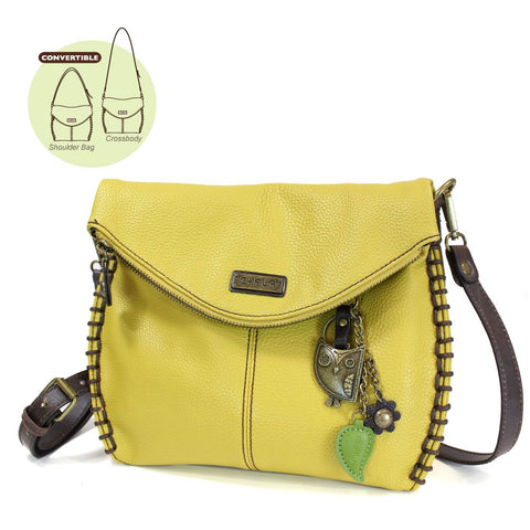 Chala Charming Crossbody Bag Pleather Metal OWL Mustard Yellow Convertible