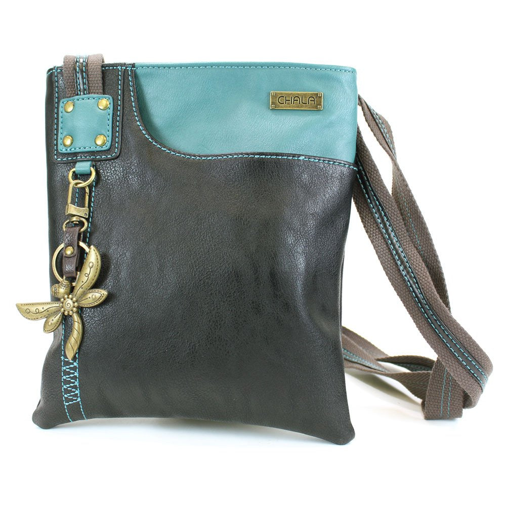 Chala Crossbody Swing Bag - Two Tone Pu Leather Cross-Body Purse or Shoulder Handbag in Very Supple Faux Leather (Dragonfly Teal-Black)