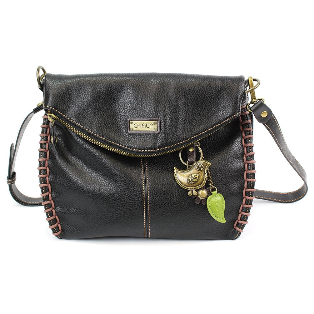 Charming Crossbody Shoulder Purse in PU Leather with Metal Purse Charm (Black Bird)