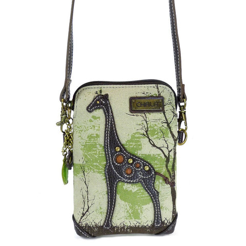 Chala Women's Safari Animal Canvas Crossbody Cell Phone Purse with Adjustable Strap -Sand