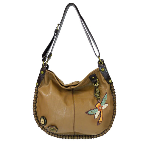 CHALA Crossbody Handbag, Hobo Style, Casual, Soft, Shoulder or Crossbody - Dragonfly - Light Brown