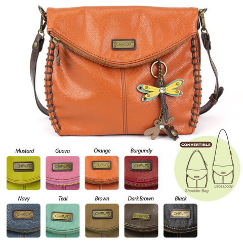 Chala Crossbody with Charming Yellow Double Dragonfly Keychain- 9 Colors Options