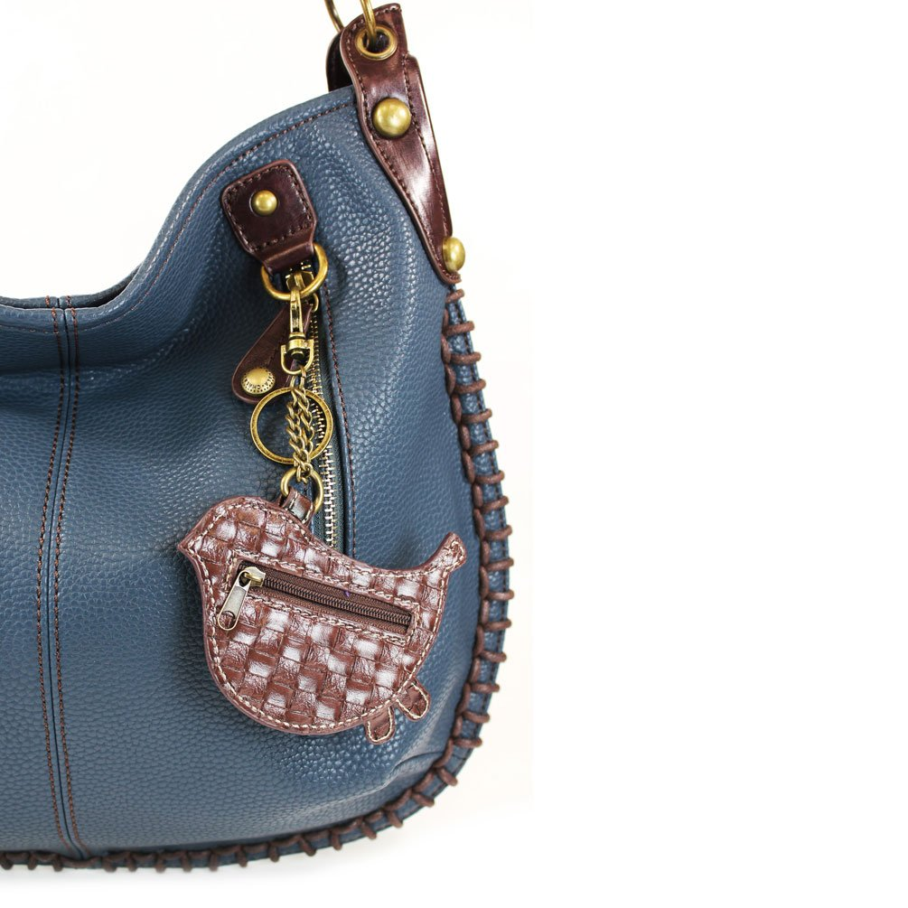 Extra Large Charming Hobo/Xbody with Adjustable Strap, Navy Blue-Bird II, 16.5 x 0.5 x 13 in
