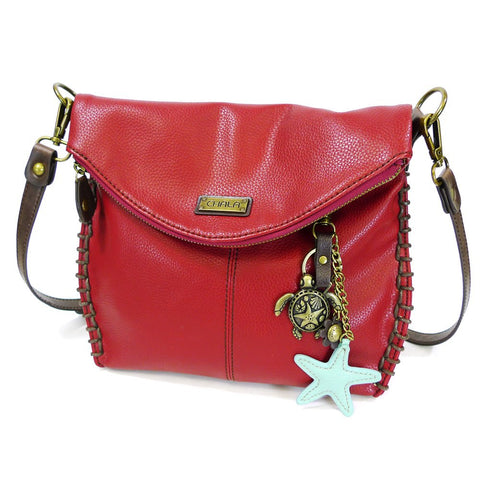 Chala Charming Crossbody Bag Pleather Metal SEA TURTLE BurgundyRed Convertible