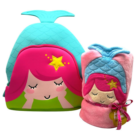 Mermaid Plush Cuddly Kids Animal Blanket and Toddlers Backpack (Pink Mermaid)