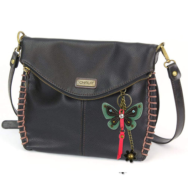 Chala Charming Crossbody Bag with Zipper Flap Top and Metal Chain - Black (Teal Butterfly)
