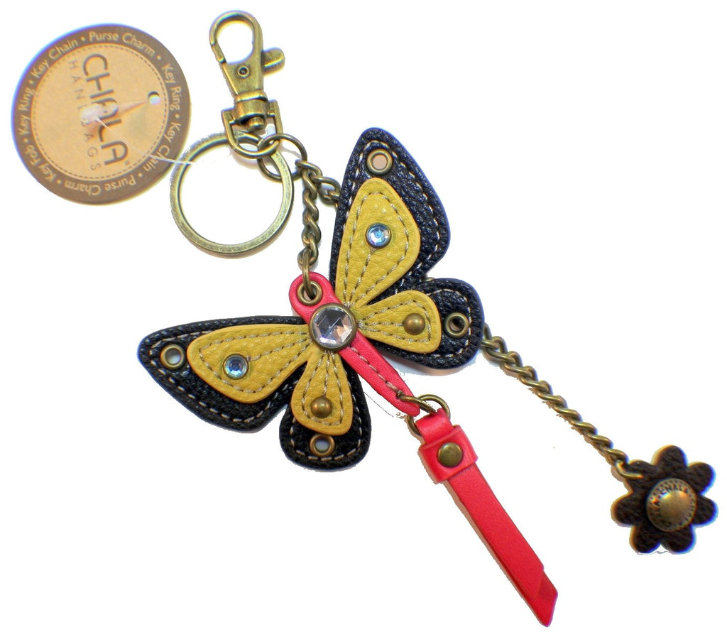 Chala Yellow Spring Butterfly Key Chain Purse Leather Bag Fob Charm New