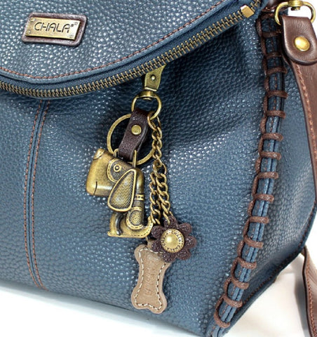 Chala Charming Crossbody Bag - Flap Top and Metal Key Charm in Navy Blue, Cross-Body or Shoulder Purse - Dog