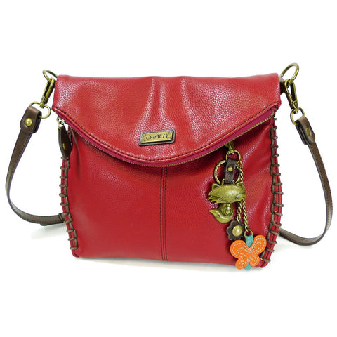 Chala Charming Cross-body or Shoulder HandBag- Burgundy with Bronze Chala Purse Charm (Fox)