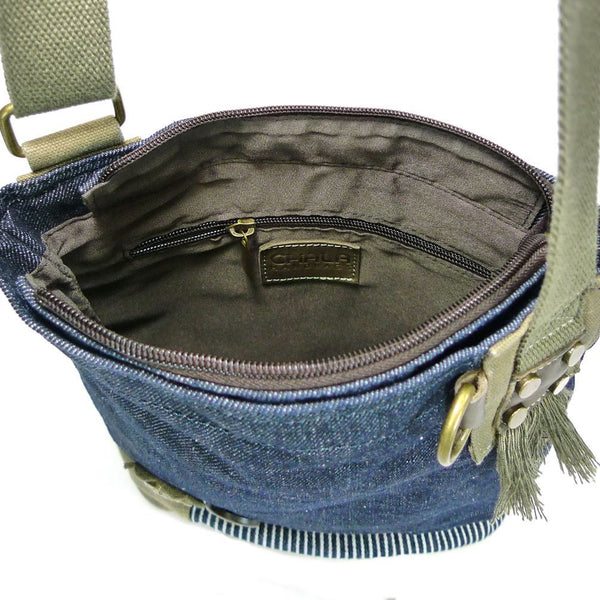 Chala Handbag Patch Cross-body Messenger Bag (Denim Blue)