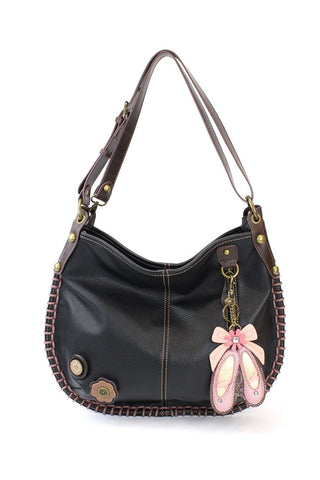 CHALA Crossbody Handbag, Hobo Style, Casual, Soft, Large Bag Shoulder or Crossbody - Black (Ballerina)