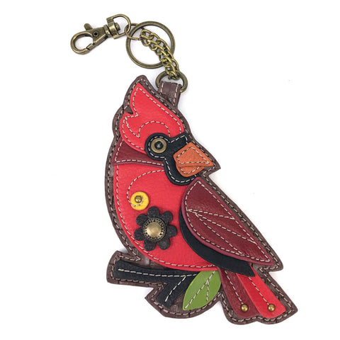 Chala Decorative Purse Charm, Key fob, coin purse - (Red Cardinal) - Animal-Bags.com