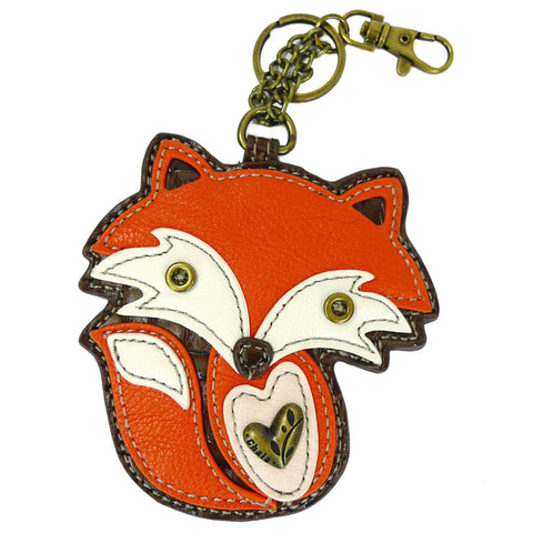 "Chala Coin Purse - Key Fob ""ORANGE FOX"" + Metal Fox Keychain Bundle"