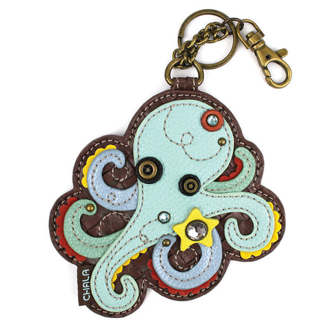Chala Decorative Purse Charm, Key fob, coin purse - (Octopus)